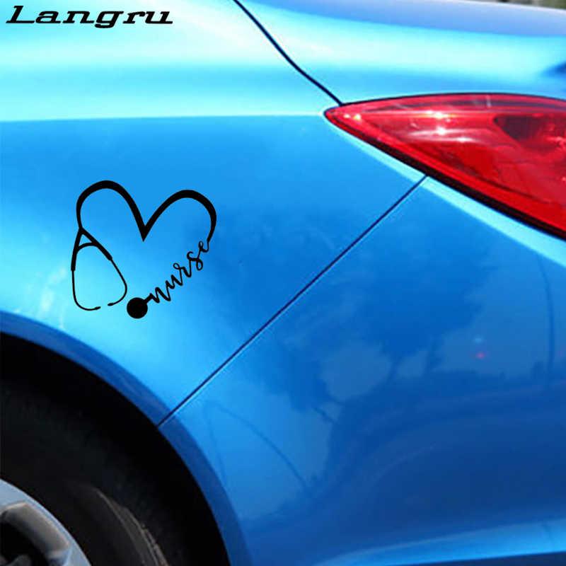 Langru 15.8*15cm yeni stil hemşire kalp Sticker vinil çıkartması için araba motosiklet kask araba aksesuarları Jdm