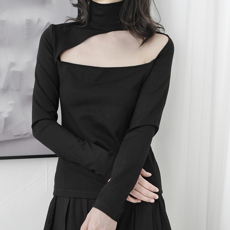 [EAM] Women Black Hollow Out Stitch Temperament T-shirt New Turtleneck Long Sleeve  Fashion Tide  Spring Autumn 2020 1DB366 4