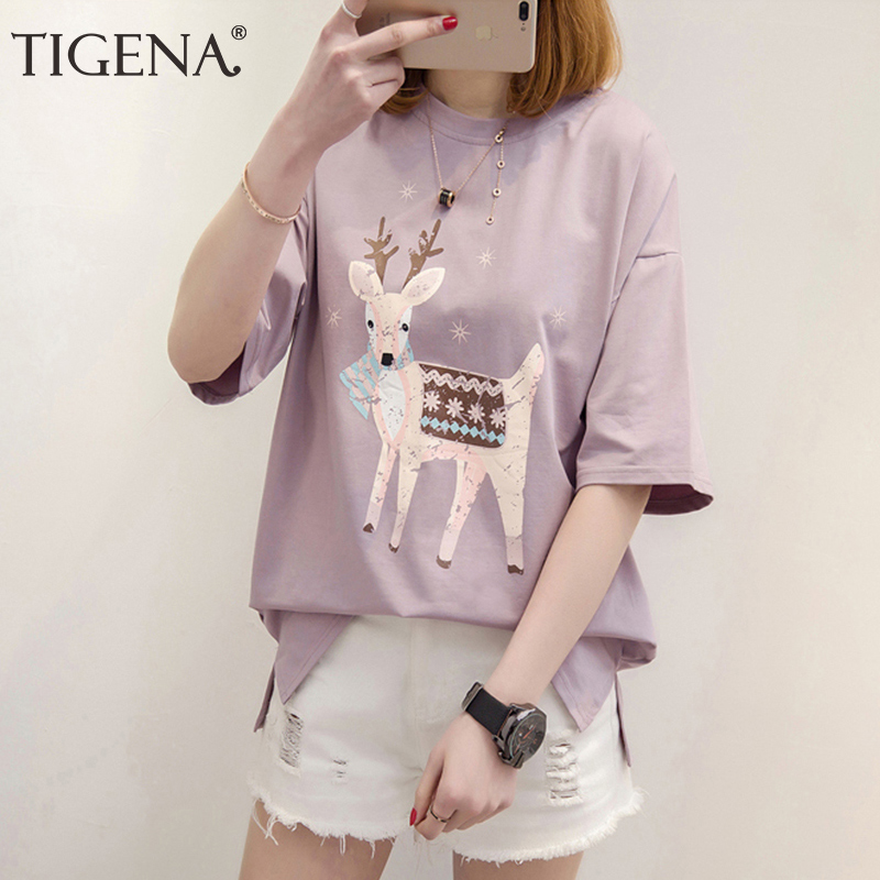 TIGENA Cute Deer Print T-shirt Women 2020 Summer Fashion Short Sleeve T Shirt For Women Casual Loose Tees Tops Tshirt Female