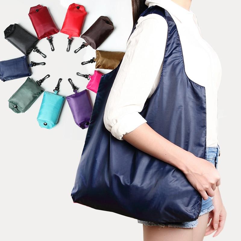 1 X Portable Folding Shopping Bag Oxford Bags Lightweight Solid Color Bag Foldable Waterproof Ripstop Shoulder Bag Handbag