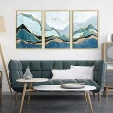 Pintados à mão abstracto montanha névoa pássaro dourado paisagem pintura da parede arte imagem cartaz para sala de estar decoração casa