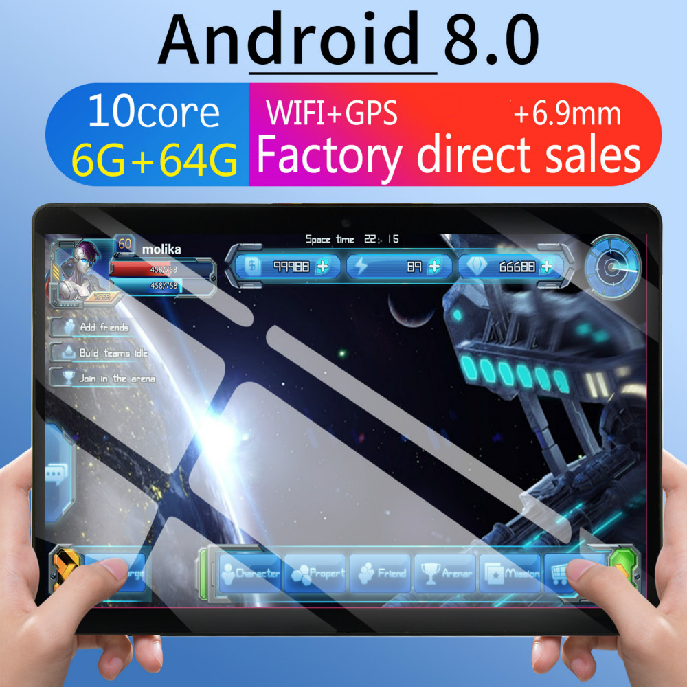 2020 6G+64G Android 8.0 WiFi Tablet PC Dual SIM Dual Camera Rear Bluetooth WiFi Call Phone Tablet  GPS