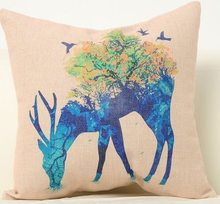 Deep Blue Elegant Flowers Butterflies Deer Beauty Arts Gift Cute Pillow Cover Massager Decorative Pillows Home Decor Gift(China)