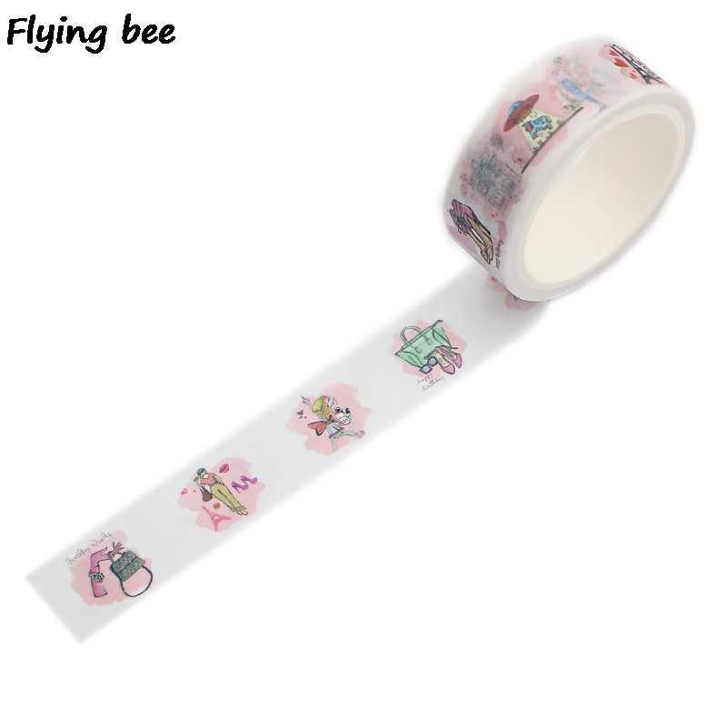Flyingbee 15 ミリメートル × 5m パリ和紙テープ紙 DIY 装飾粘着テープ文房具女性ファッションマスキングテープ用品 x0504