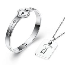 A Couple Jewelry Sets Stainless Steel Love Heart Lock Bracelets Bangles Key Pendant Necklace Couples цена в Москве и Питере