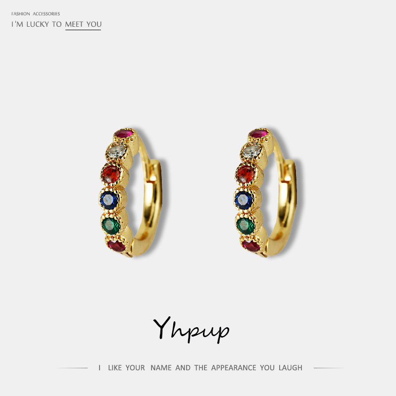 Yhpup Trendy Exquisite Brand Minimalist Cubic Zirconia Hoop Rainbow Earrings Small Jewelry For Women Office Party Jewelry Gift