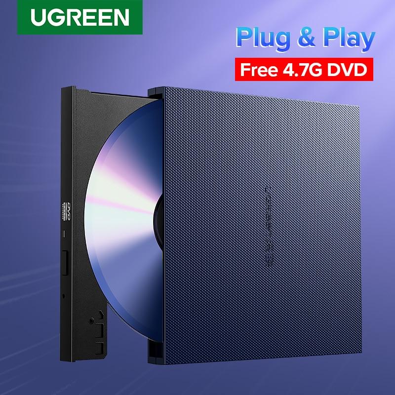 Ugreen – lecteur optique externe USB 2.0, Combo CD/DVD RW ROM graveur pour Dell Lenovo ordinateur portable Windows/Mac OS