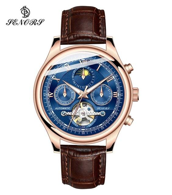 Senors Mannen Automatische Horloge Echte Horloge Mannen Automatische Mechanische Tourbillon Horloge Luxe Fashion Rvs Sport Horloges