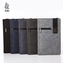 CAI Men Long Wallet Zipper Clutch Purse Waterproof Wallets Clip Passport Credit Card Holder Fashion Handbag for Male Bag Gift