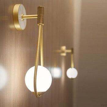 Art Deco Bedroom Bedside Wall Lamp Nordic Glass Ball Wall Lighting/Light Modern LED Wall Light