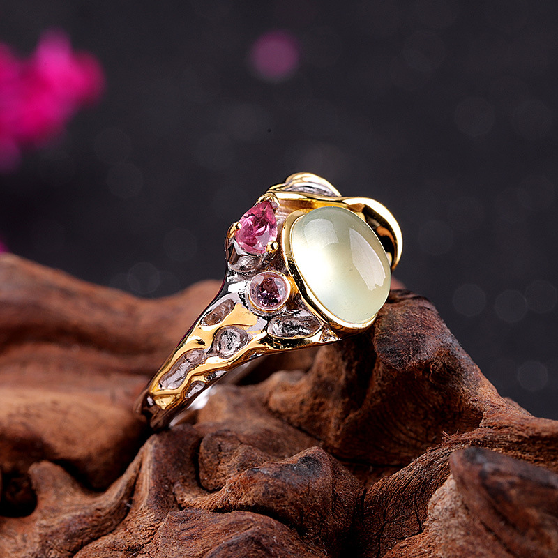 Mode nouveau S925 pur argent bijoux dames raisin pierre anneaux pour femme 100% réel 925 argent femme anneaux
