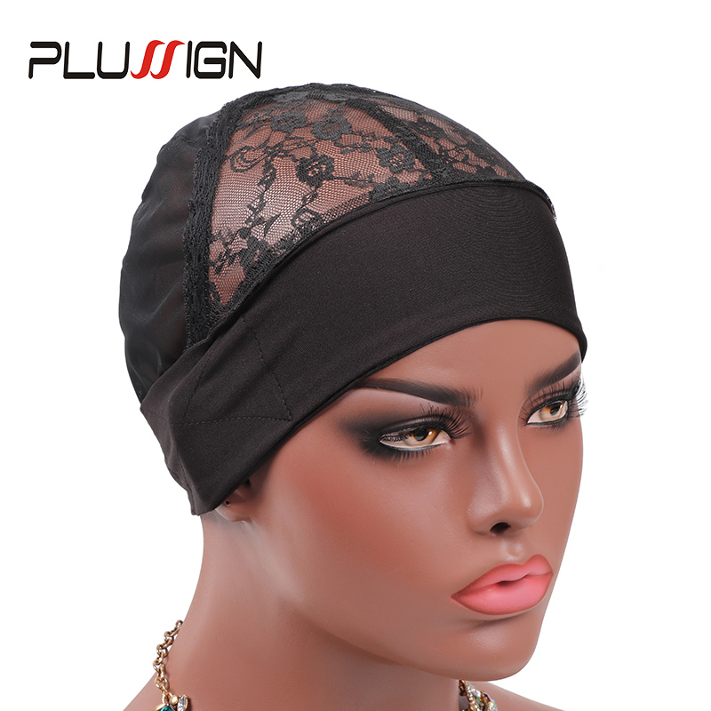 Headband Wig Cap With Adjustable Velcro Plussign New Arrival Hair Cap Wave Weaving Wig Caps For Making Wigs Black Lace Dome Caps