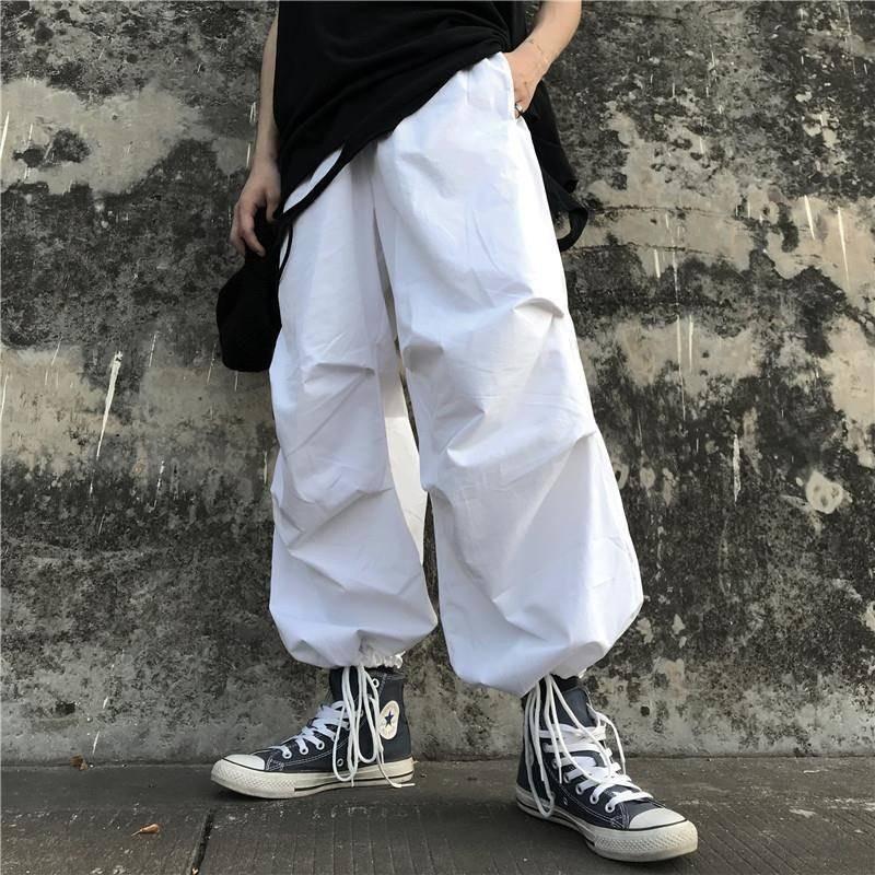 streetwear wide leg   pants   women clothes Korean style ins elastic waist pockets loose high   Capris   casual full length bf white