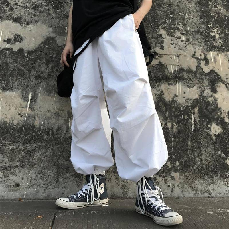 streetwear wide leg pants women clothes Korean style ins elastic waist pockets loose high Capris casual full length bf white