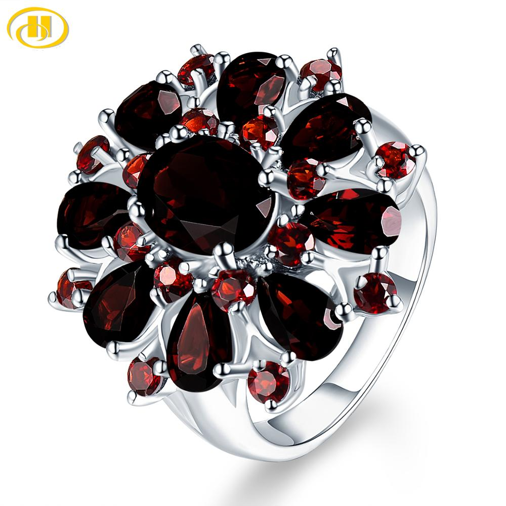 Silver Garnet Ring 925 Jewelry Gemstone 7.54ct Natural Black Garnet Rings for Women's Fine Jewelry Classic Design Christmas Gift