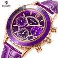 RUIMAS модные женские часы с фиолетовым кожаным ремешком  кварцевые женские часы с хронографом  Роскошные наручные часы Relogios Feminino 592