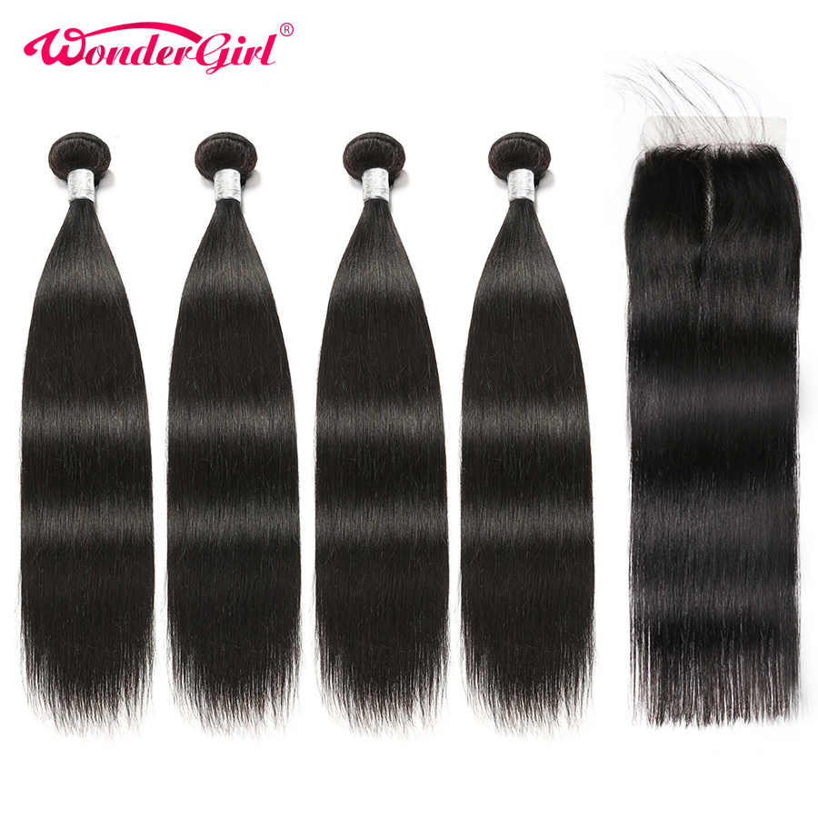 Peruvian Straight Hair Bundles With Closure 4pcs/lot Remy Human Hair Bundles With Closure Wonder girl Can Be Stitched Into a Wig-in 3/4 Bundles with Closure from Hair Extensions & Wigs    1