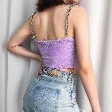 JOYINPARTY пикантные женские модные летние цепи слинг мех Тип фиолетовый повседневные топы без рукавов короткая футболка