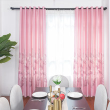 Pink Printed Curtains Modern Sheer Luxury Blackout Room Curtains For Living Room Bedroom Kids Children Room Home(China)