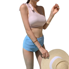 High Waist Bikini Women One-shoulder Swimsuit Solid Ruched Knot Plain Biquini Crop Top Bikinis Push Up Bathing Suit 2019 New