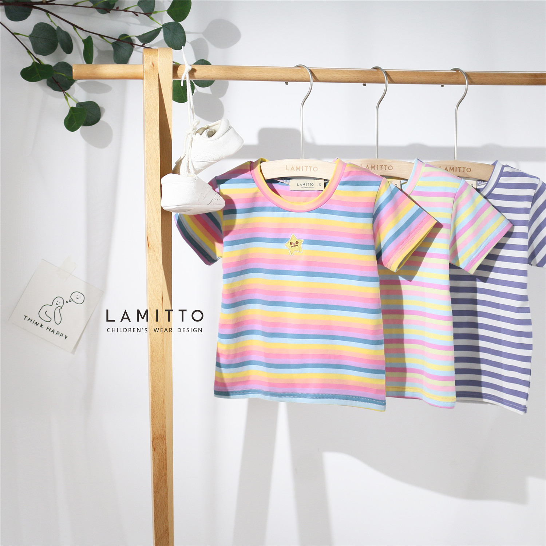 Tonytaobaby Child New Products Rainbow Stripes Embroidered Short Sleeve T-shirt  Girls Shirts