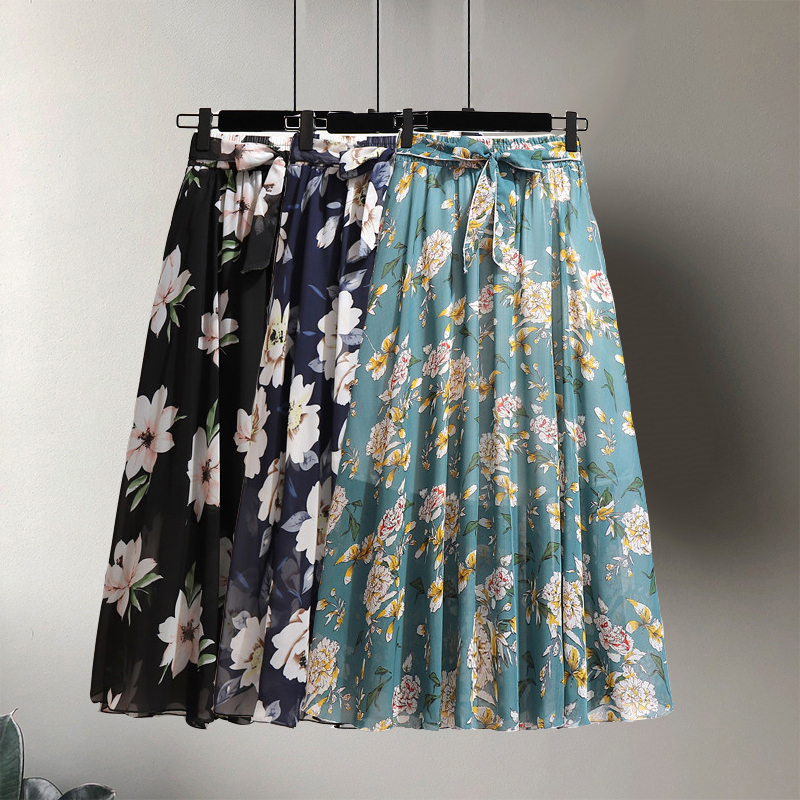 Summer Women Vintage Elegant Beach Midi Chiffon Skirt With Belt 2020 Casual High Waist Pleated Skirts Womens Print Skirts Female