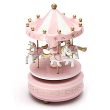 Musical carousel horse wooden music box toy child baby pink game