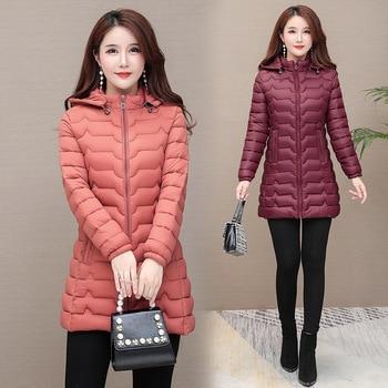 Cotton-padded Female, Medium-length Light Jacket, Slim Down Jacket Coat, Women Winter Coat