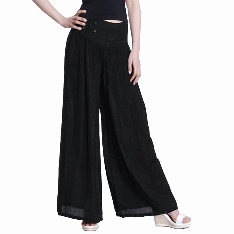 VONDA Women   Wide     Leg     Pants   2019 Spring Summer Female Sexy Elastic Waist Trousers Plus Size Casual Loose Solid Bottoms Oversized