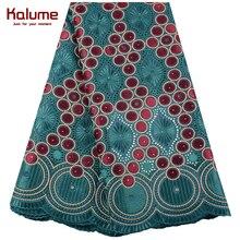 Tela de encaje de gasa verde suiza, tela de encaje africano bordado de alta calidad, tejido de encaje de algodón francés a la moda, 1468