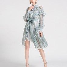 2018 neue Frauen Mode Kleid Hohe Qualität Strand Berufung Mini Kleid Hülse Lange Bogen Stil Kleid Streifen Luxus Marke kleid