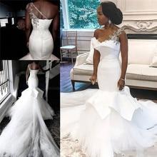 Afrykańskie suknie ślubne jedno ramię 2020 syrenka koronki z kryształkami w górę Plus rozmiar suknie ślubne suknia dla panny młodej Robe De Mariee
