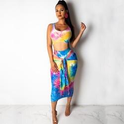 Галстук-краситель, сексуальный женский комплект из 2 предметов, без рукавов, топик без спинки, топ + юбка-карандаш со шнуровкой, костюм