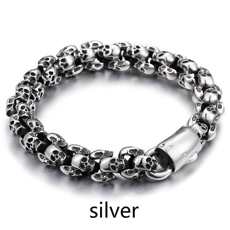 WAWFROK hommes mode Bracelet acier inoxydable argent/noir couleur Bracelets pour hommes squelette à la mode/vintage Bracelet Bracelet à breloques