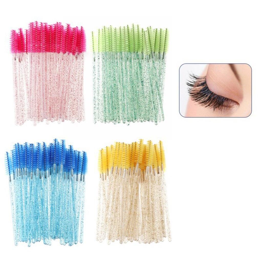 50pcs Shiny Disposable Eyelash Applicator Wands Curler Brush Set Mascara Eyebrow Spoolers Comb Wands Spoolies Brushes