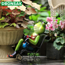 Outdoor Garden Frog Decoration Frog Rocking Chair Decoration Animal Sculpture Home Office Desktop Courtyard Gardening Ornament
