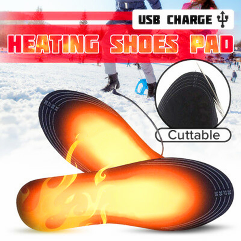 EPHER Removable Electric USB Powered Warm Black <font><b>EVA</b></font> <font><b>Material</b></font> <font><b>Shoes</b></font> Heated Insoles image