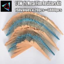 1/4W 0.25W 194valuesx20pcs = 3880 sztuk 0.1R ~ 22M 1% metalu rezystor z folii wybrane elementy