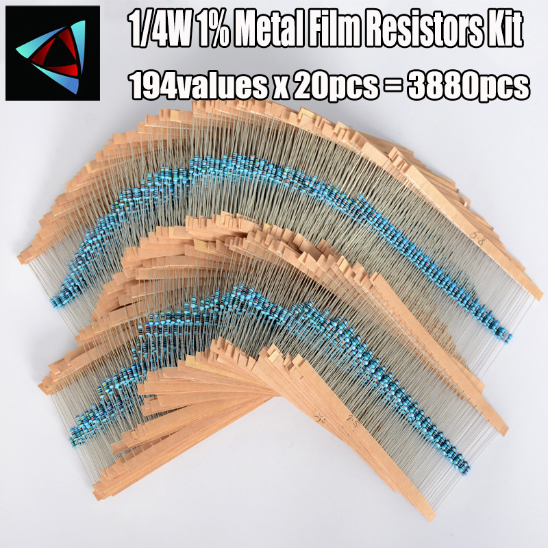 1/4W 0.25W 194valuesx20pcs=3880pcs 0.1R~22M 1% Metal Film Resistor Assorted Kit