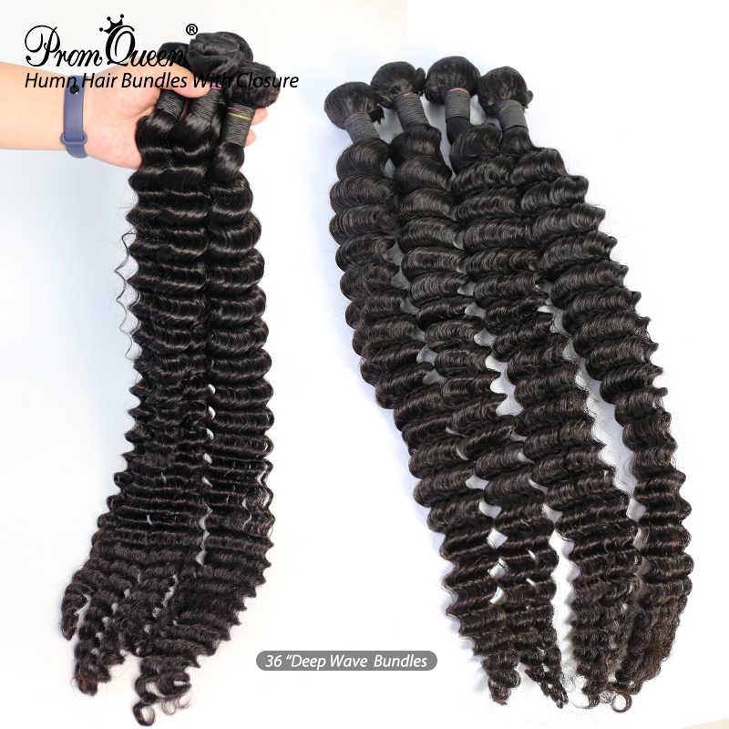 Promqueen, extensiones de cabello humano virgen brasileño, manojos de ondas profundas de 8 a 40 pulgadas, Cabello 100% humano, extensiones de cabello