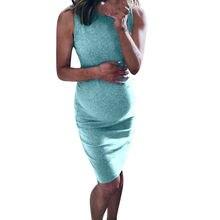 Платье рубашка без рукавов для беременных женщин плотный стрейч