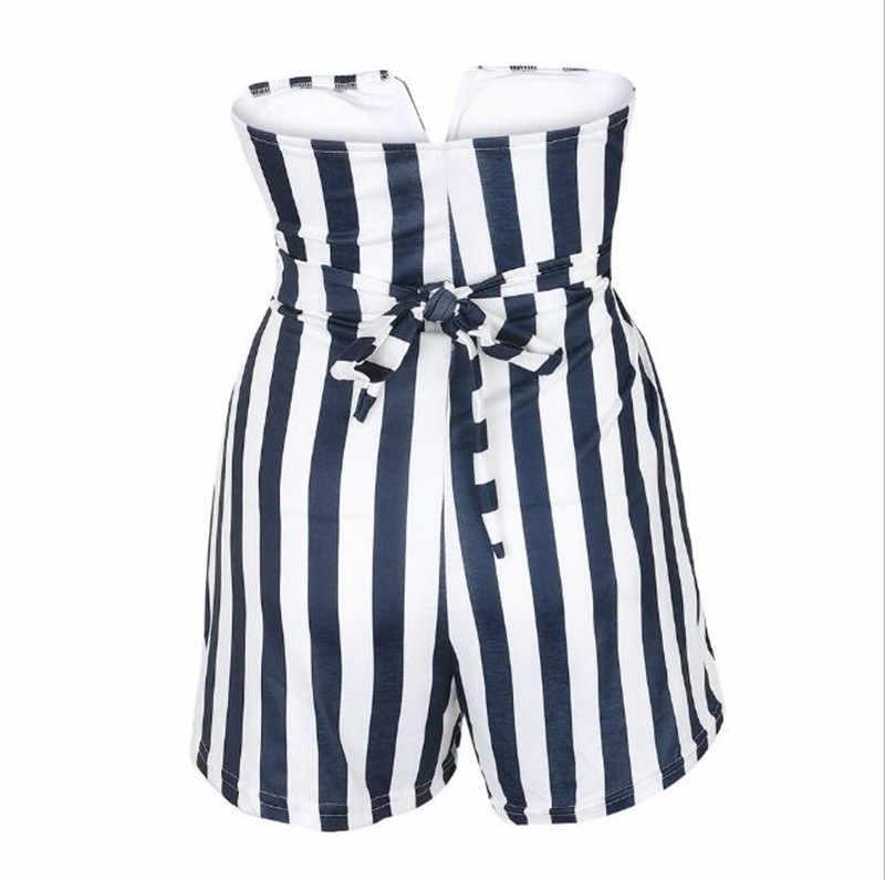 Playsuits feminino para streetwear bandagem oco para fora design strapless listrado playsuits senhora verão bolsos finos playsuits