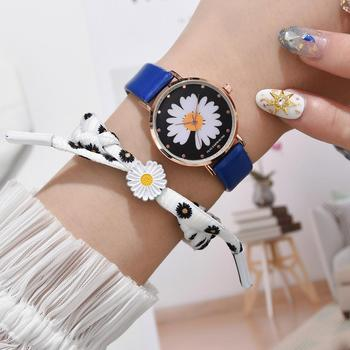 Women Fashion Daisy Watches Small Black Vintage Leather Ladies Wristwatch 2020 Simple Watch Woman Quartz Clock Drop Shipping hot unique genena women watches fashion leather strap vantage design quartz watch bracelet ladies wristwatch drop shipping f20