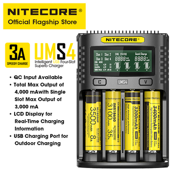 NITECORE UMS4 cztery Slof inteligentna ładowarka baterii USB 4A QC szybkie ładowanie doskonała ładowarka do 18650 14500 26650 21700 AA AAA tanie i dobre opinie CN (pochodzenie) battery charger USB Output 3000mA over discharged li-lion battery activation anti-short circuiting protection
