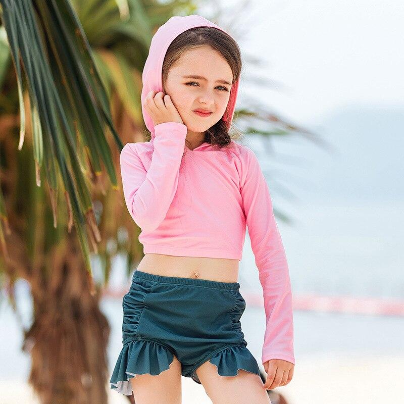 South Korea KID'S Swimwear GIRL'S Cute Long Sleeve Sun-resistant Split Type Big Boy Swimwear Princess Baby Girls Swimwear