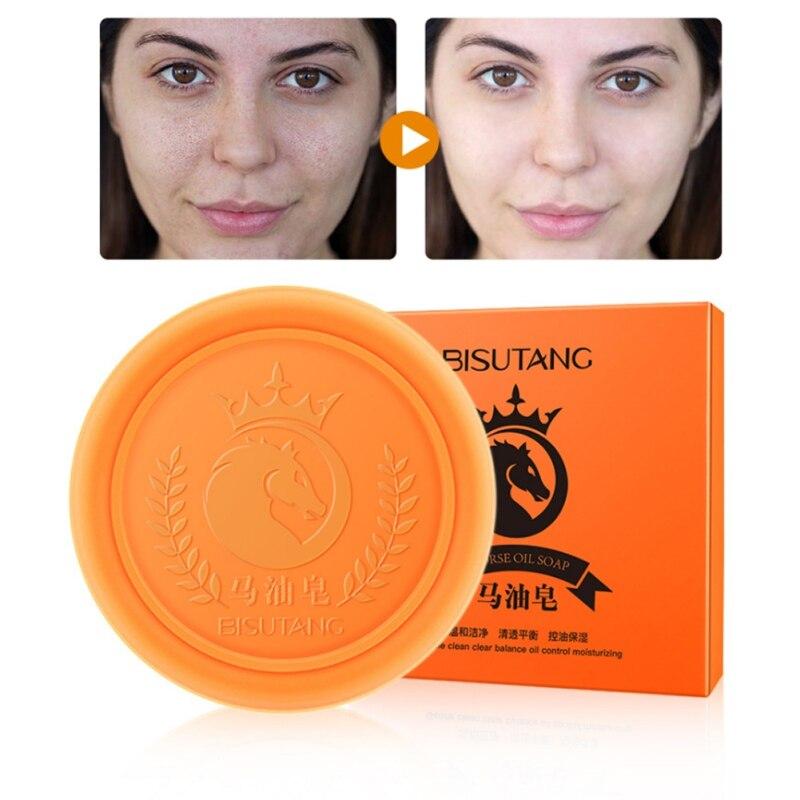 Horse Oil Soap Oil-control Moisturizing Anti-mites Shrinking Pores Handmade Horse Oil Soap Face Body Skin Care