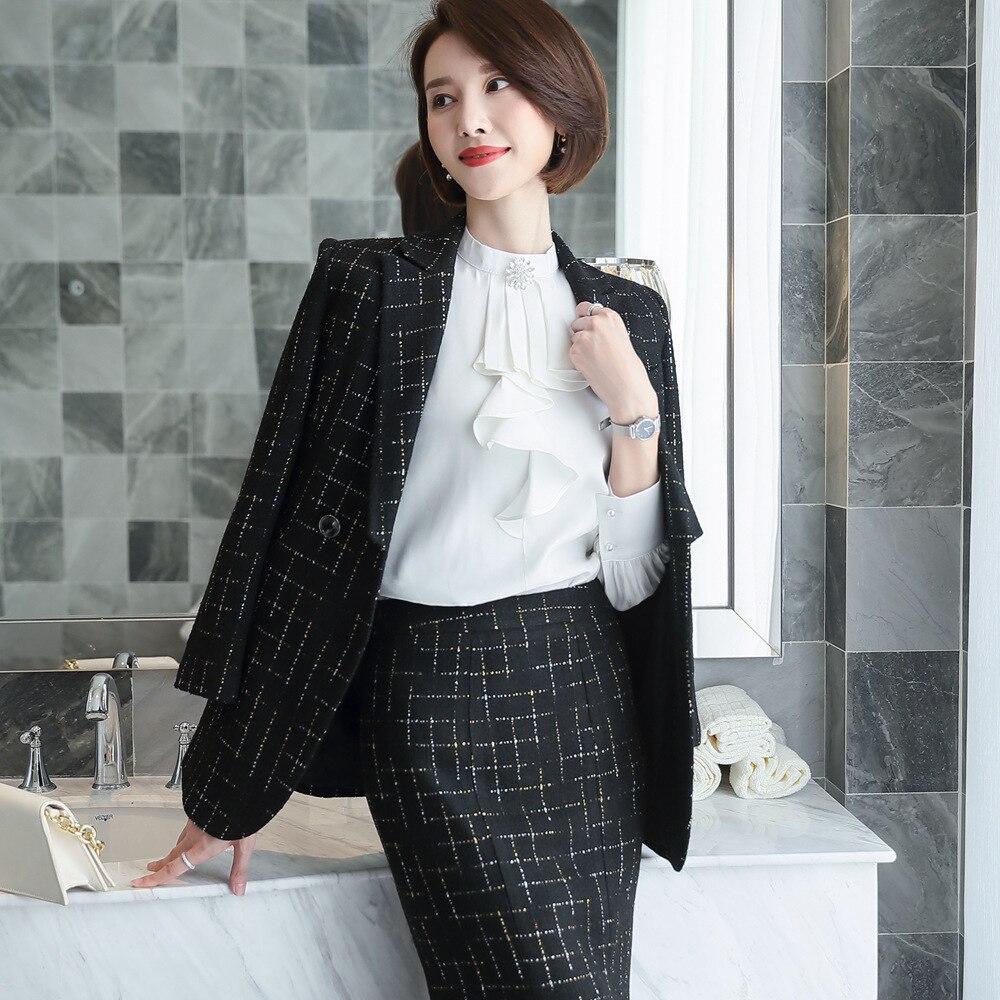 Thick Material Fashion Skirt Suit Female Business Suit Black Jacket Suit Workwear Female Office Suit Design Winter Suit - 3