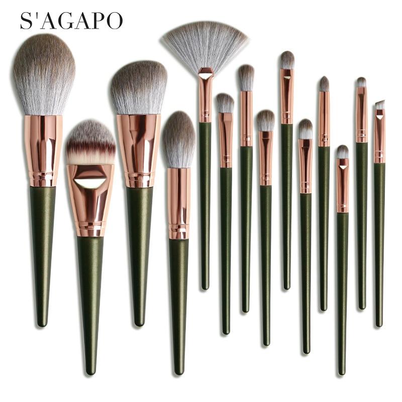 S'AGAPO 14pcs Eyeshadow Makeup Brushes Set Soft Fan Loose Powder Brush Set Foundation Blush Highlighter Concealer Makeup tools