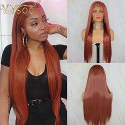YYsoo Long13x6 #350 Color Futura pelucas de encaje sintético frontal con Babyhair Japón peluca recta resistente al calor LÍNEA DE PELO Natural