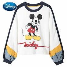 Sudadera de Disney para mujer, con estampado de dibujos animados de Mickey Mouse a la moda, contraste de Color, manga larga de linterna, cuello redondo, estilo Harajuku